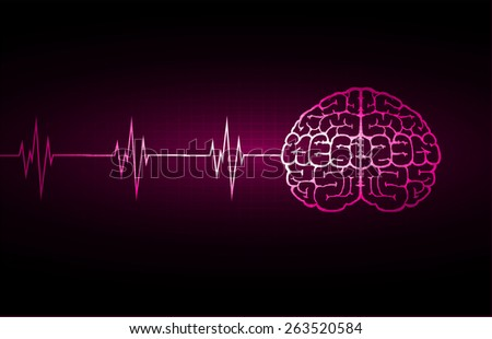 vector purple brain processes technology, creative idea concept. wave - stock vector