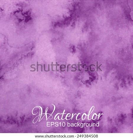 Vector purple dark abstract hand drawn watercolor background. - stock vector
