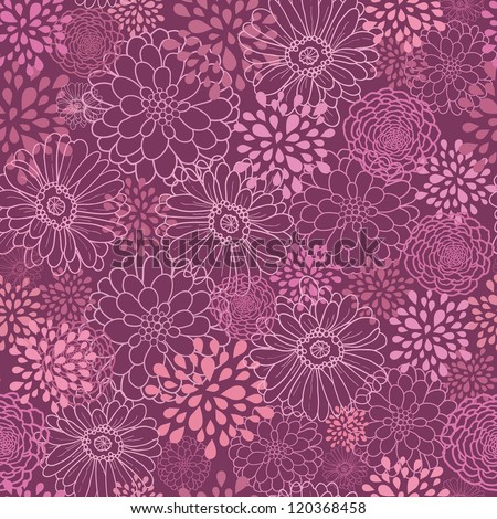 Vector purple field flowers elegant seamless pattern background with hand drawn line art floral elements. - stock vector
