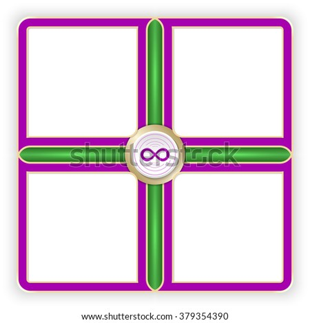 Vector purple frames for your text and infinity symbol - stock vector