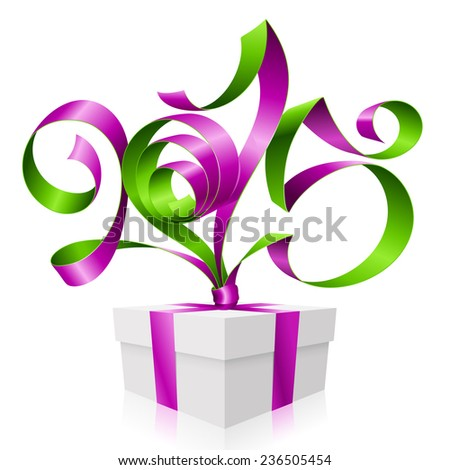 Vector purple green ribbon in the shape of 2015 and gift box. Symbol of New Year - stock vector