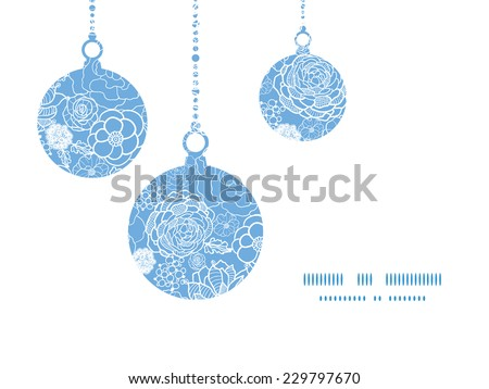 Vector purple lace flowers Christmas ornaments silhouettes pattern frame card template - stock vector