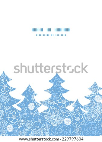 Vector purple lace flowers Christmas tree silhouette pattern frame card template - stock vector