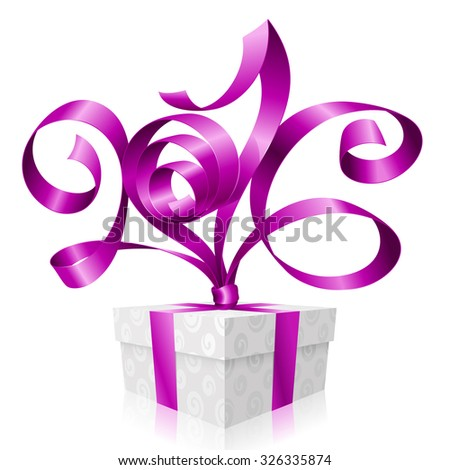 Vector purple ribbon and gift box. Symbol of Christmas or New Year 2016 - stock vector