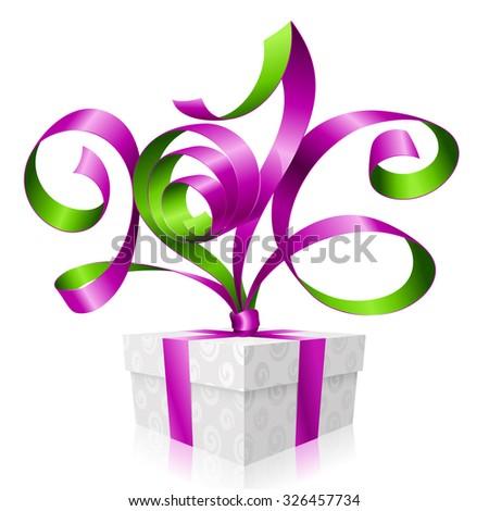 Vector purple ribbon and gift box. Symbol of New Year 2016 - stock vector