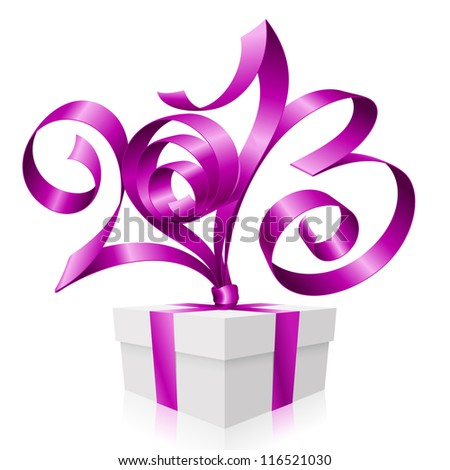 Vector purple ribbon in the shape of 2013 and gift box. Symbol of New Year - stock vector