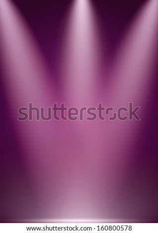 Vector purple stage lights background - stock vector