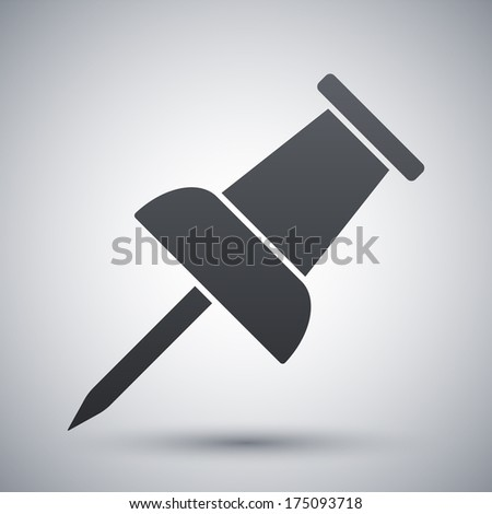 Vector push pin icon - stock vector