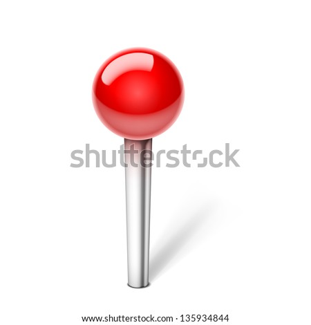Vector push Pin Icon isolated on white background - stock vector