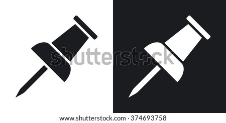 Vector push pin icon. Two-tone version on black and white background - stock vector