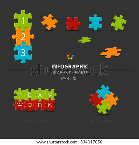 Vector puzzle elements for your infographics - part 12. of my infographic bundle, dark version - stock vector