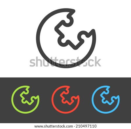 Vector puzzle icon set, line and flat design - stock vector