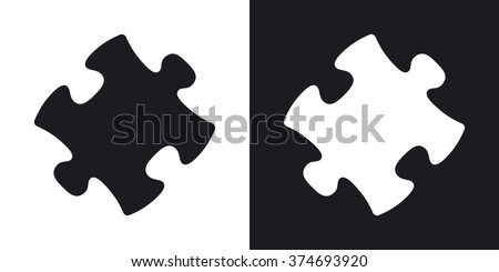 Vector puzzle icon. Two-tone version on black and white background - stock vector
