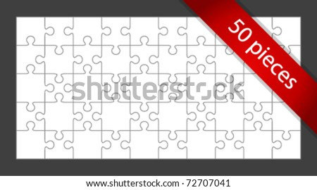 Vector 50 puzzle pieces background. Eps 10. - stock vector