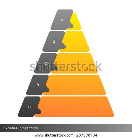 Vector pyramid info graphic shows growth with gradient fill. Clear and simple template.  - stock vector