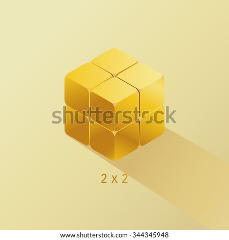 vector quality gold cube toy puzzle, 2x2 square / noble metal, gold bullion