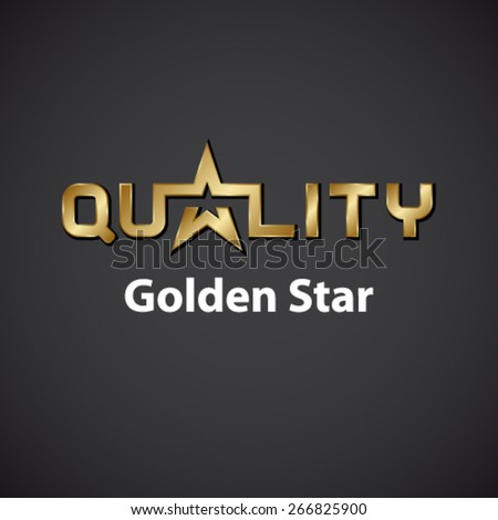 vector quality golden star inscription icon - stock vector