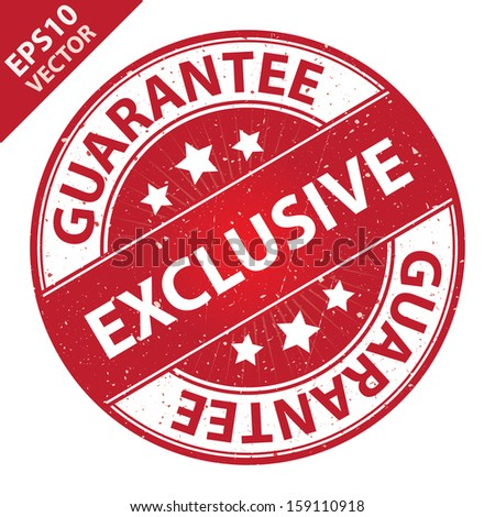 Vector : Quality Management Systems, Quality Assurance and Quality Control Concept Present By Exclusive Label on Red Grunge Glossy Style Icon With Guarantee Text Around Isolated on White Background  - stock vector