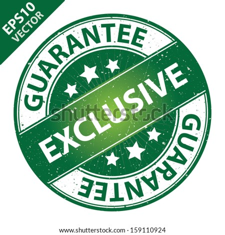 Vector : Quality Management Systems, Quality Assurance and Quality Control Concept Present By Exclusive Label on Green Grunge Glossy Style Icon With Guarantee Text Around Isolated on White Background  - stock vector