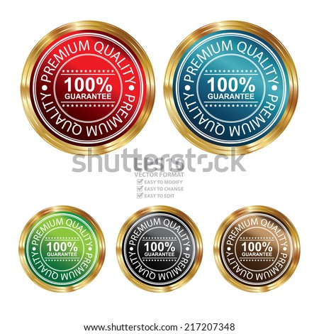 Vector : Quality Management Systems, Quality Assurance and Quality Control Concept Present By Circle Metallic Style Premium Quality 100 Percent Guarantee Sticker or Icon Isolated on White Background  - stock vector