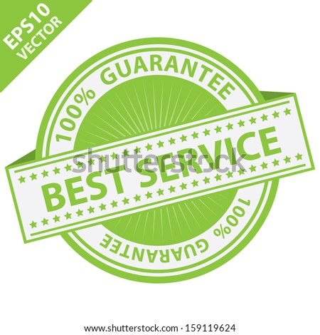 Vector : Quality Management Systems, Quality Assurance and Quality Control Concept Present By Green Best Service Label With 100 Percent Guarantee Text Around Isolated on White Background  - stock vector
