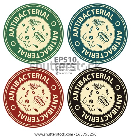 Vector : Quality Management Systems, Quality Assurance and Quality Control Icon for Healthcare or Medical Business Present By Colorful Vintage Style Antibacterial Sticker or Icon Isolated on White  - stock vector