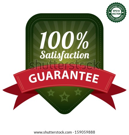 Vector : Quality Management Systems, Quality Assurance, Quality Control or Product Certification Sticker, Tag or Badge Present By 100 Percent Satisfaction Guarantee on Green Label Isolated on White - stock vector