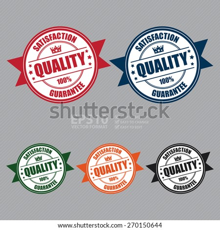 Vector : Quality Satisfaction 100% Guarantee Ribbon, Badge, Banner, Sign, Tag, Label, Sticker or Icon - stock vector