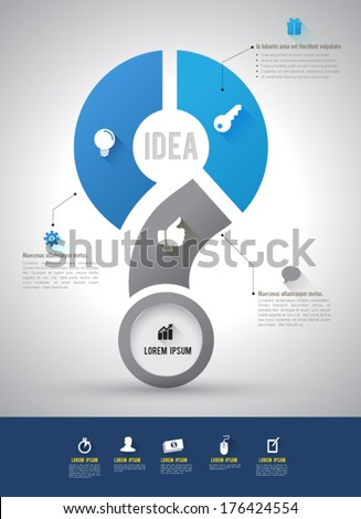 Vector question mark step with icons long shadows / can use for element graphic / printing / web / business concept template. - stock vector