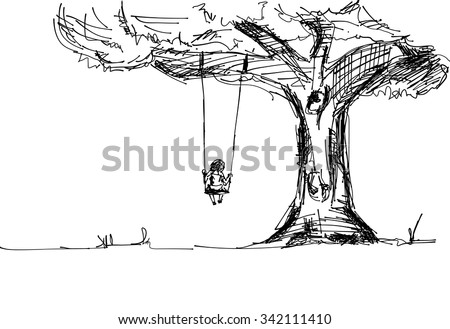 vector quick sketch kid playing swing, nature and tree - stock vector