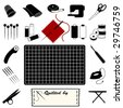 vector - Quilting Tools for patchwork, applique, textile arts, do it yourself crafts: cutting mat, rotary blade cutter, tape measure, threads, sewing machine, thimble, scissors, iron, label. EPS8.  - stock vector