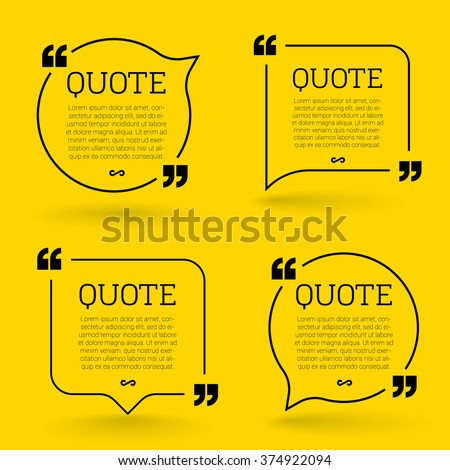 Vector quote mock up. Quote speech bubble template. - stock vector