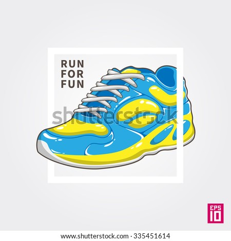 Vector quote Run For Fun with colorful sneaker illustration.  - stock vector