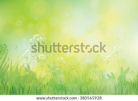 Vector rabbits in grass, spring nature background. - stock vector