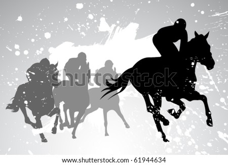 vector race horses and jockeys - stock vector