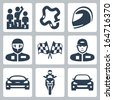 Vector race icons: podium, track, helmet, racer in helmet, racing flag, racer in cap, racing car, motorcycle, rally car - stock vector