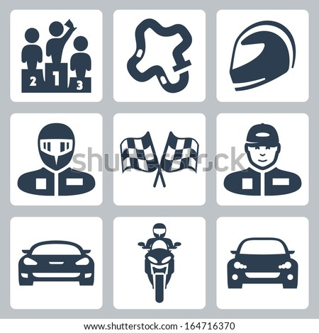 Vector race icons: podium, track, helmet, racer in helmet, racing flag, racer in cap, racing car, motorcycle, rally car - stock vector