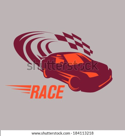 Vector racing car at the finish line - stock vector