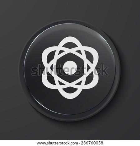 Vector radiation modern black glass circle icon. Eps10 - stock vector