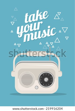 Vector radio illustration with text space - stock vector