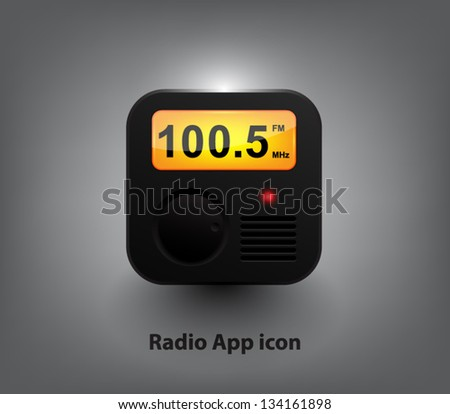 Vector radio player button / icon for websites (UI) or applications (app) for smartphones or tablets - stock vector
