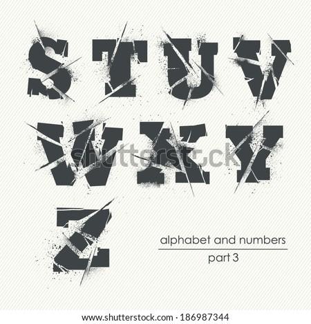 Vector ragged grunge alphabet with ink splatter - part 3 - stock vector
