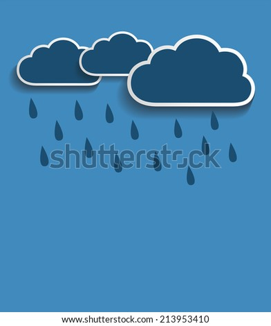 Vector rain clouds with blue background - stock vector
