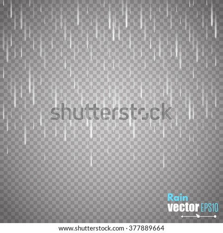 Vector rain isolated on transparent background. Creative template for your artwork