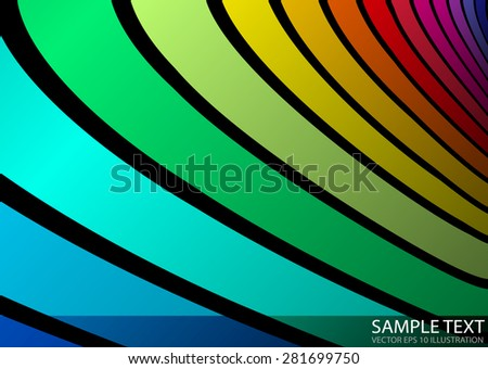 Vector rainbow abstract template background illustration - Artistic abstract vector rainbow colored striped curved - stock vector