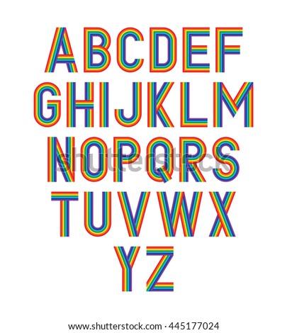 Vector rainbow alphabet. - stock vector