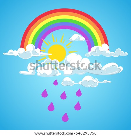Vector rainbow and clouds with falling rain blue sky