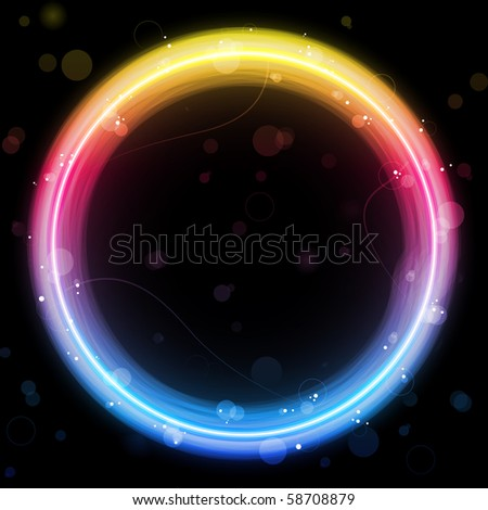 Vector - Rainbow Circle Border with Sparkles and Swirls.