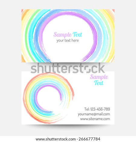 Vector Rainbow Color Business Card Template Stock Vector 265415357