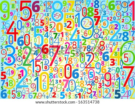 Vector rainbow colored background  from different numbers typography - stock vector